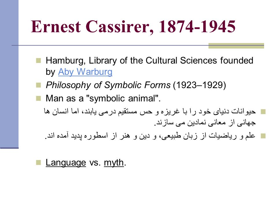 Ernest Cassirer, 1874-1945 Hamburg, Library of the Cultural Sciences founded by Aby WarburgAby Warburg Philosophy of Symbolic Forms (1923–1929) Man as