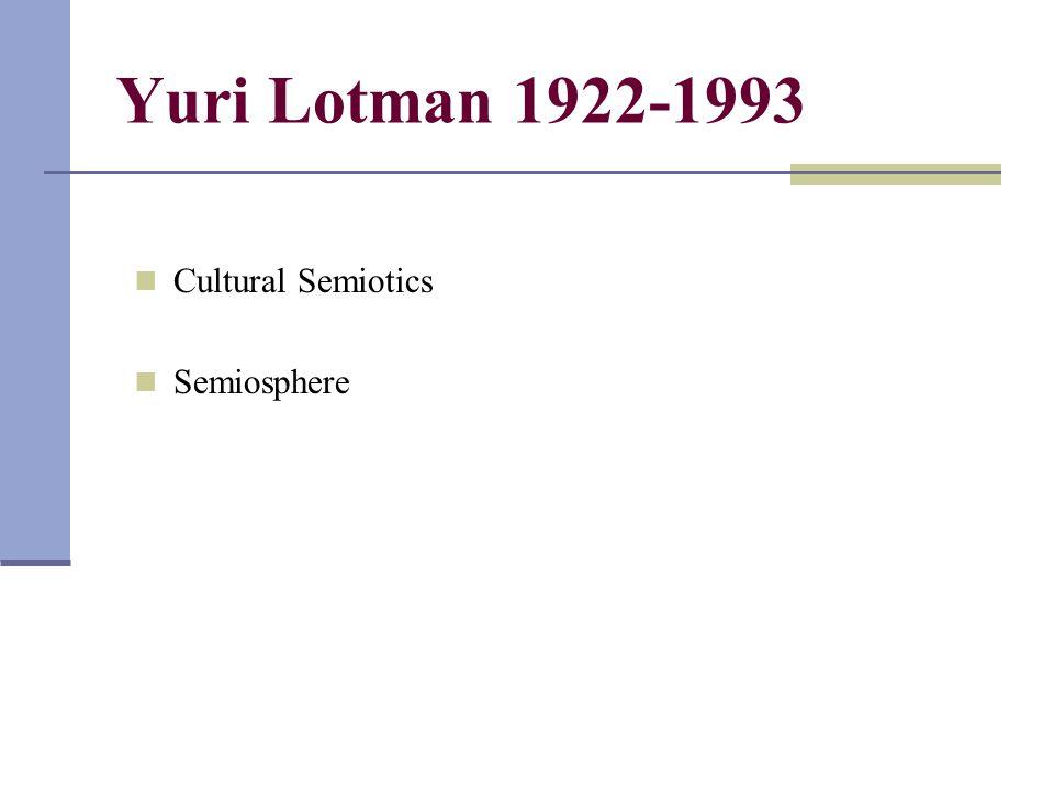 Yuri Lotman 1922-1993 Cultural Semiotics Semiosphere