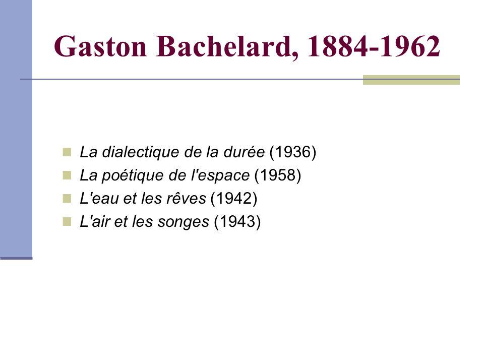 Gaston Bachelard, 1884-1962 La dialectique de la durée (1936) La poétique de l espace (1958) L eau et les rêves (1942) L air et les songes (1943)