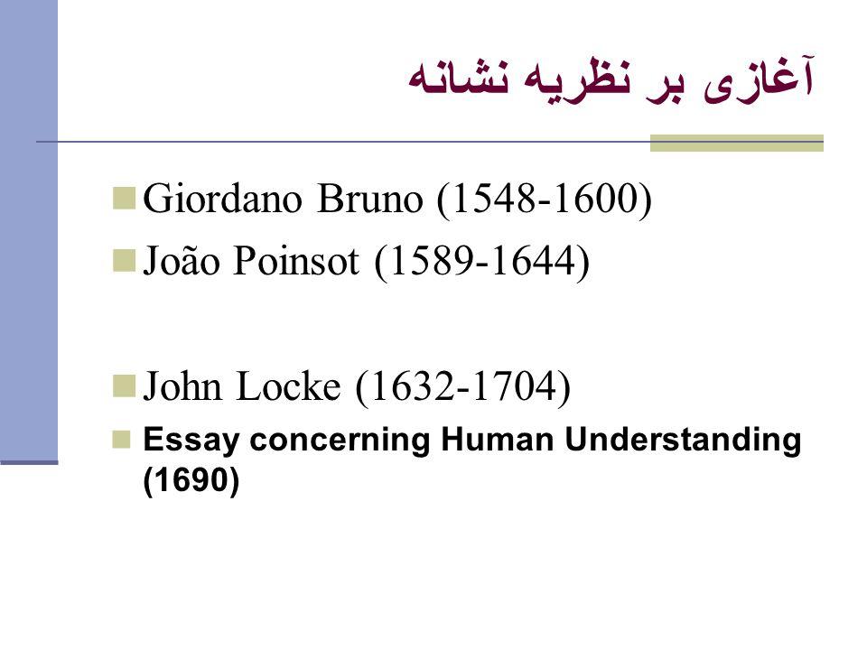 آغازی بر نظريه نشانه Giordano Bruno (1548-1600) João Poinsot (1589-1644) John Locke (1632-1704) Essay concerning Human Understanding (1690)