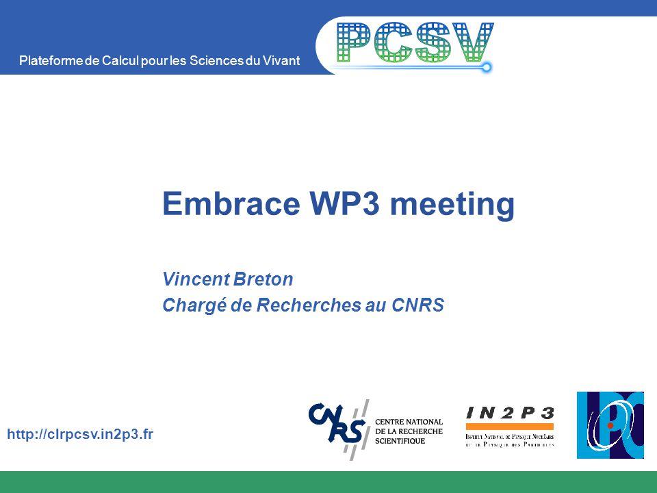 Plateforme de Calcul pour les Sciences du Vivant http://clrpcsv.in2p3.fr Embrace WP3 meeting Vincent Breton Chargé de Recherches au CNRS