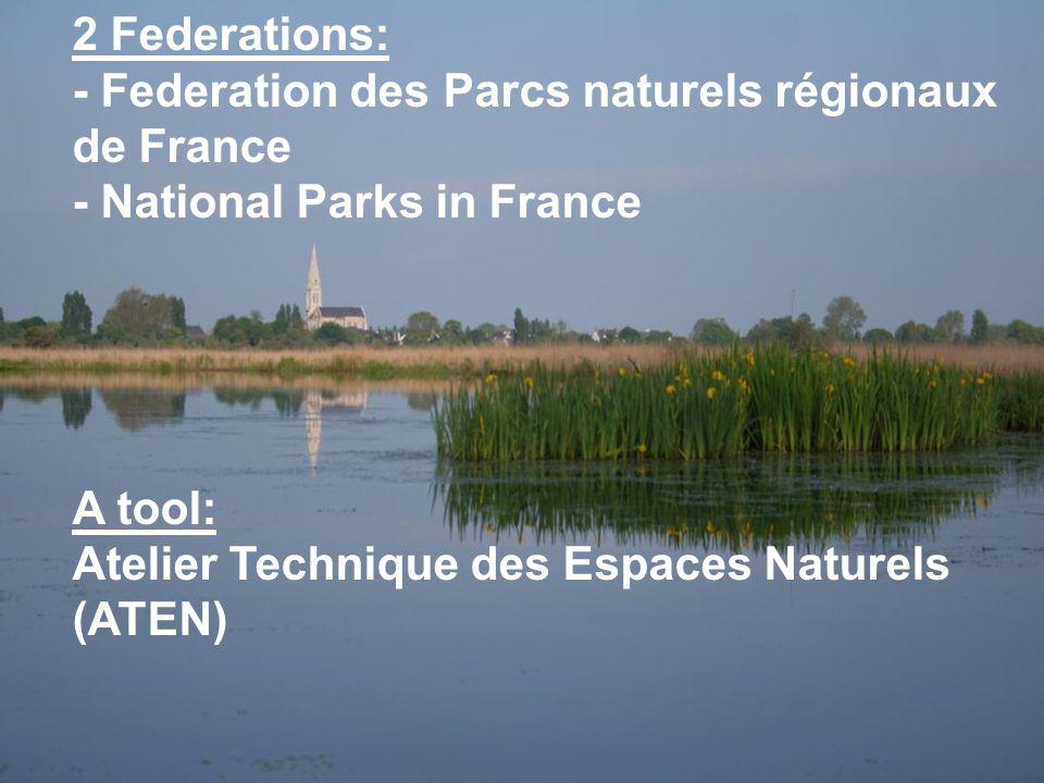 2 Federations: - Federation des Parcs naturels régionaux de France - National Parks in France A tool: Atelier Technique des Espaces Naturels (ATEN)