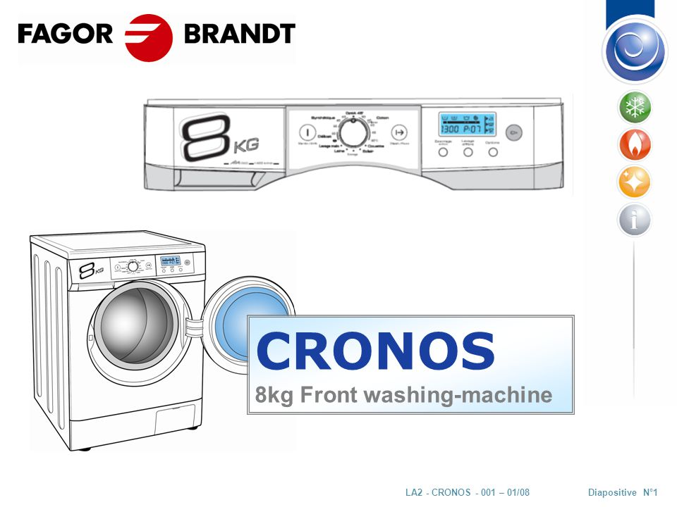 Diapositive N°22LA2 - CRONOS - 001 – 01/08 MAIN COMPONENTS Electrovalve : - 2 ways - 7 l/min - 3,7 kΩ EV1 EV2