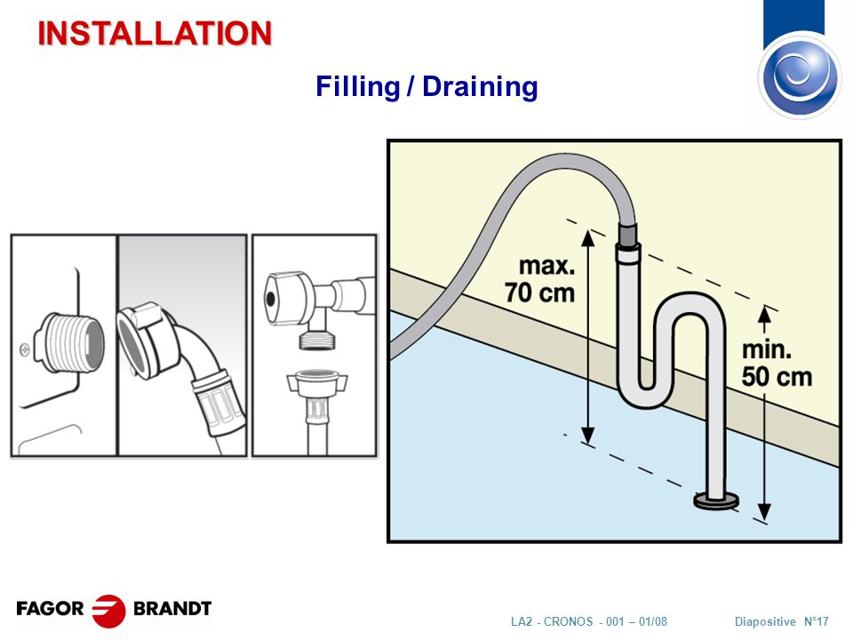 Diapositive N°17LA2 - CRONOS - 001 – 01/08 Filling / Draining INSTALLATION
