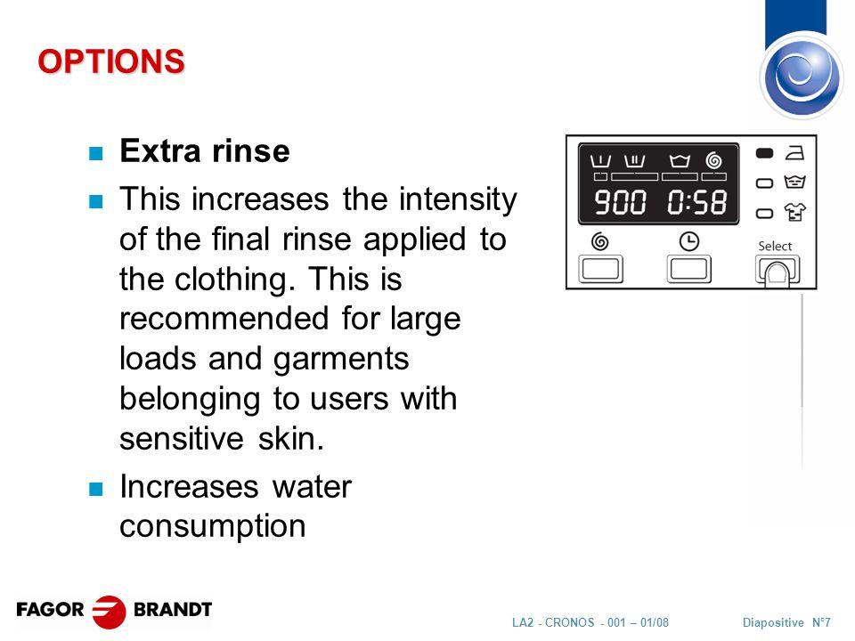 Diapositive N°48LA2 - CRONOS - 001 – 01/08 SERVICE MODE – Possible configurations
