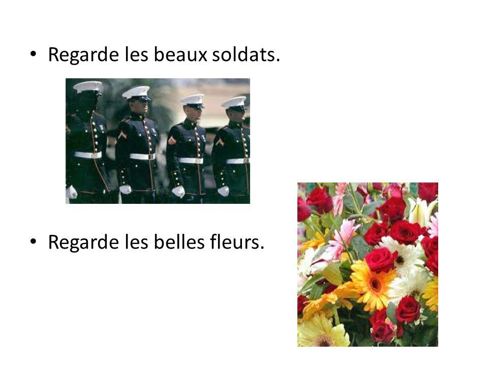 Regarde les beaux soldats. Regarde les belles fleurs.