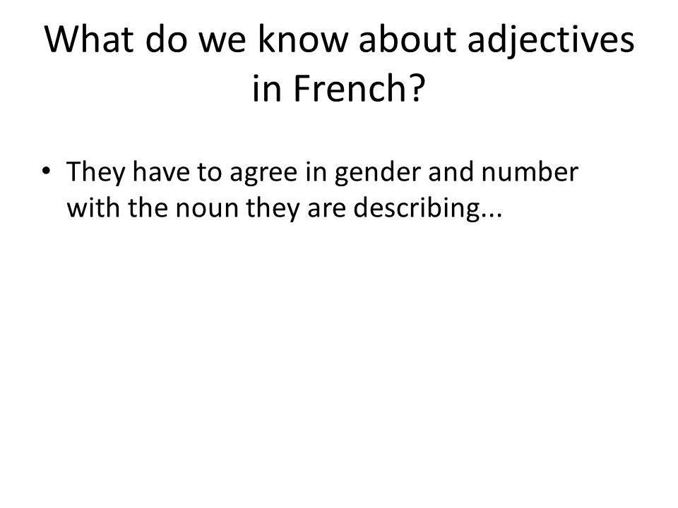 What do we know about adjectives in French.