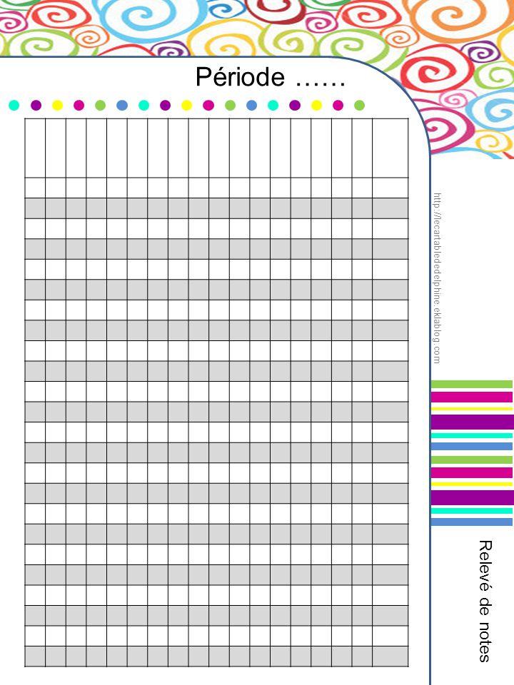 Période …… Relevé de notes http://lecartablededelphine.eklablog.com