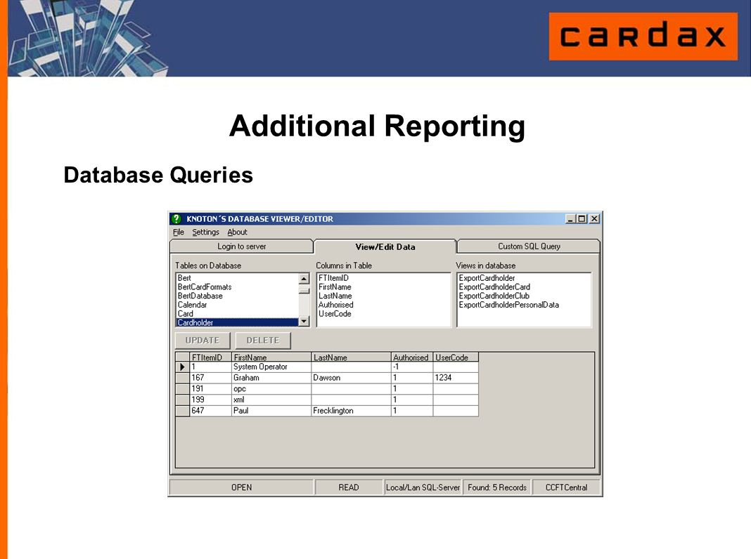 Database Queries Additional Reporting