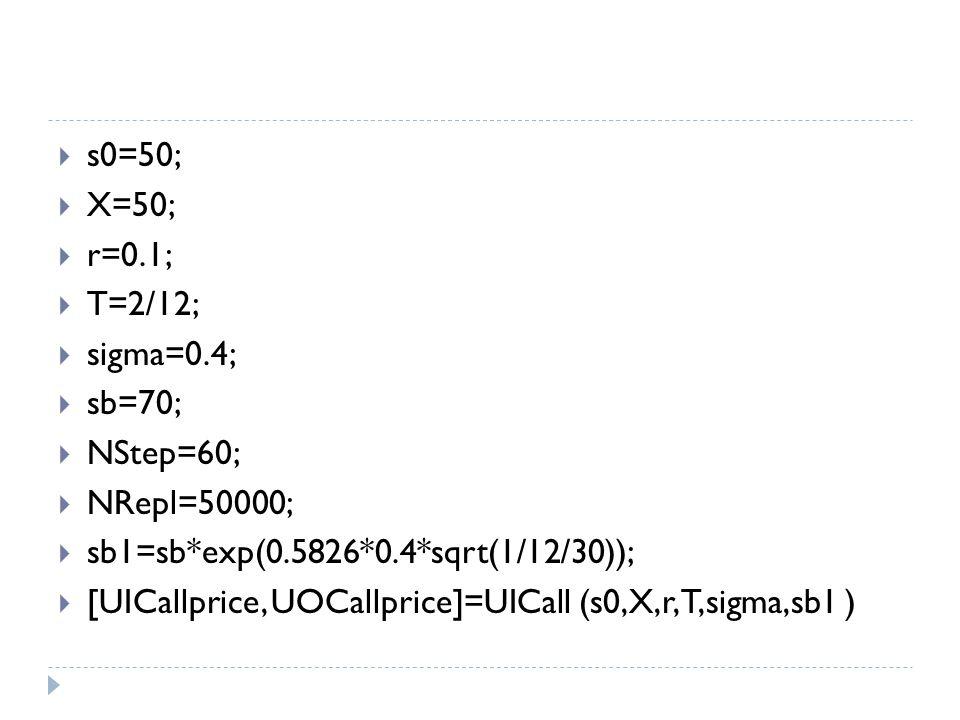  s0=50;  X=50;  r=0.1;  T=2/12;  sigma=0.4;  sb=70;  NStep=60;  NRepl=50000;  sb1=sb*exp(0.5826*0.4*sqrt(1/12/30));  [UICallprice, UOCallpri