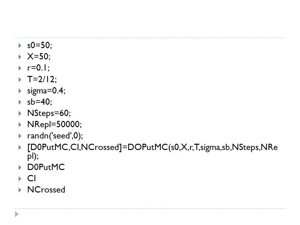  s0=50;  X=50;  r=0.1;  T=2/12;  sigma=0.4;  sb=40;  NSteps=60;  NRepl=50000;  randn('seed',0);  [D0PutMC,CI,NCrossed]=DOPutMC(s0,X,r,T,sigm