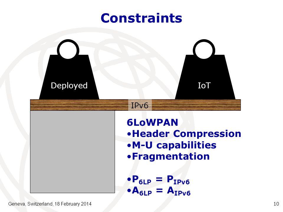 Constraints Geneva, Switzerland, 18 February 201410 IoT Deployed IPv6 6LoWPAN Header Compression M-U capabilities Fragmentation P 6LP = P IPv6 A 6LP = A IPv6