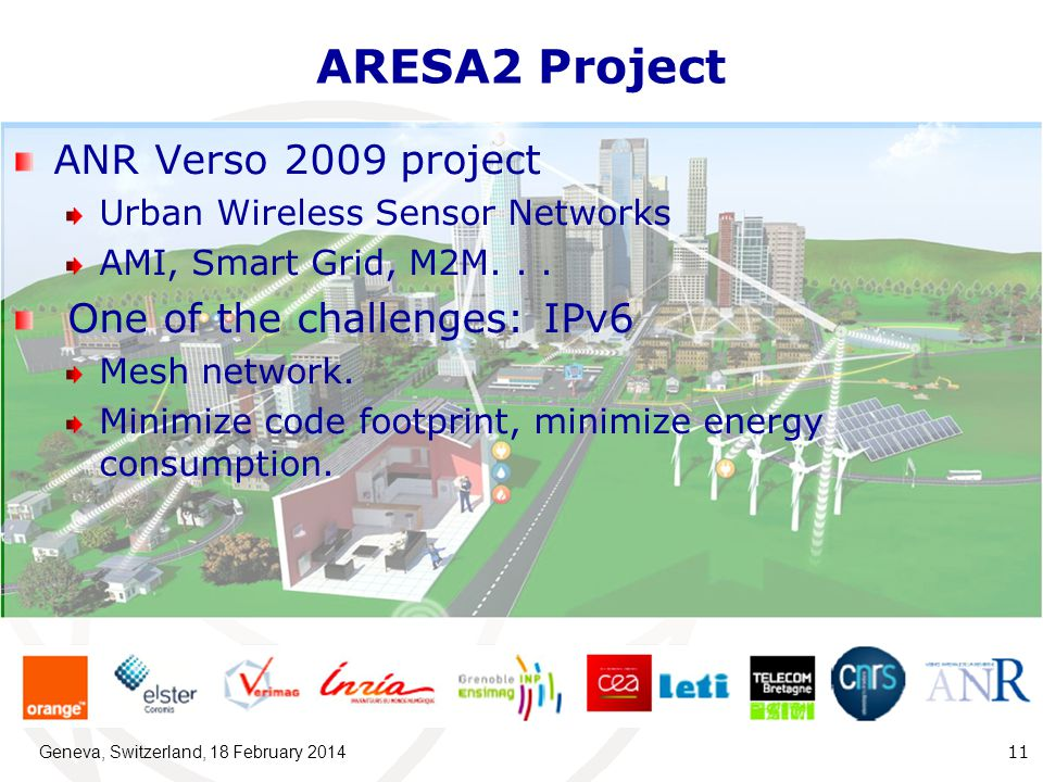 ARESA2 Project ANR Verso 2009 project Urban Wireless Sensor Networks AMI, Smart Grid, M2M...