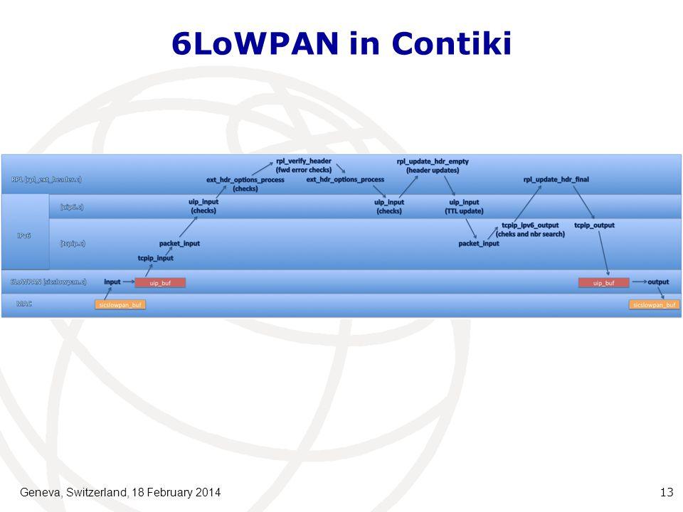 6LoWPAN in Contiki Geneva, Switzerland, 18 February 201413