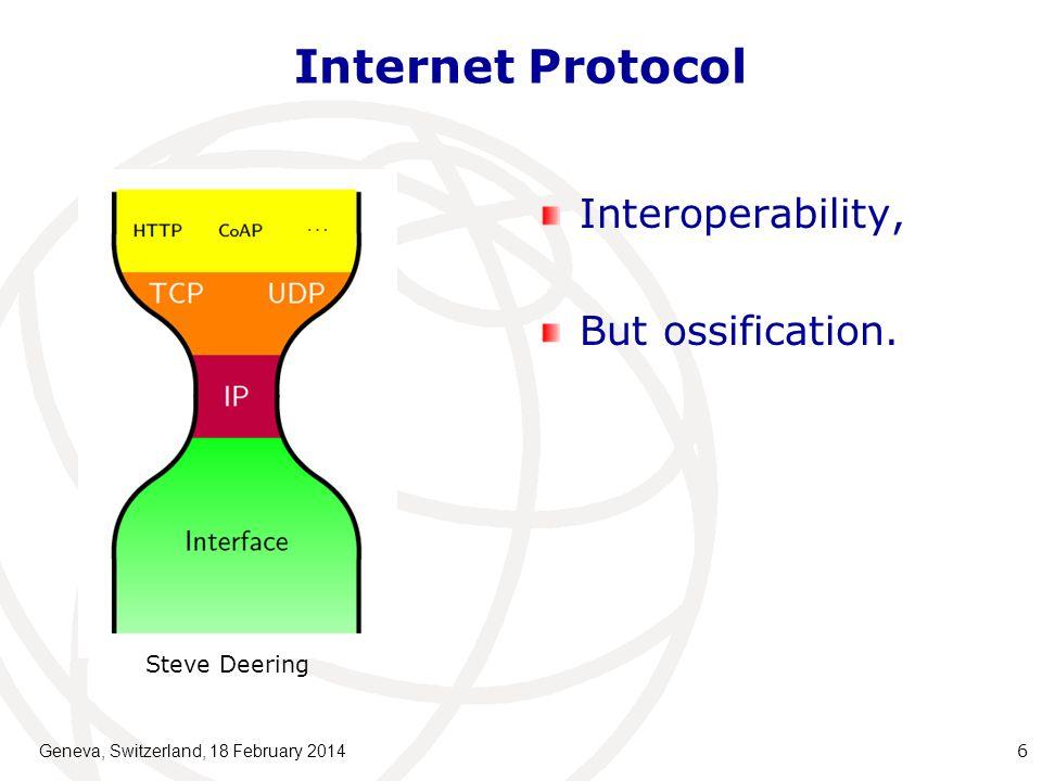 Internet Protocol Interoperability, But ossification. Geneva, Switzerland, 18 February 2014 6 Steve Deering