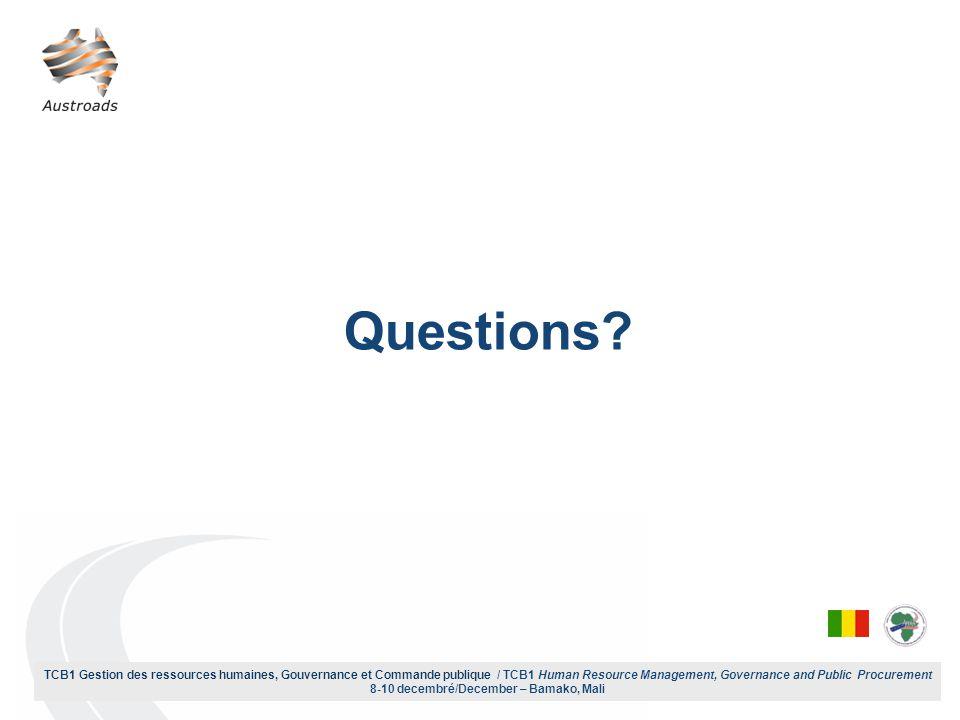 TCB1 Gestion des ressources humaines, Gouvernance et Commande publique / TCB1 Human Resource Management, Governance and Public Procurement 8-10 decembré/December – Bamako, Mali Questions