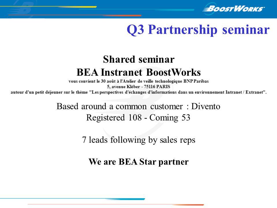 Q3 Partnership seminar Shared seminar BEA Instranet BoostWorks vous convient le 30 août à l Atelier de veille technologique BNP Paribas 5, avenue Kléber - 75116 PARIS autour d un petit déjeuner sur le thème Les perspectives d échanges d informations dans un environnement Intranet / Extranet .