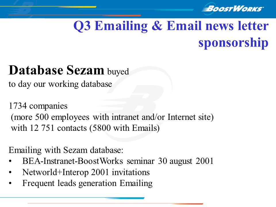 Q3 Telemarketing activities 01/05/01 25/09/01 21/05/01 14/06/01 10/07/01 18/07/01 10/08/01 04/09/01 Telemarketing Begin activity Vivendi Net / Interop 2000 / DI INFO Harte Hanks database/ Web Leads / Vivendi Net New database needed Sezam database arrival Sezam database BEA INSTRANET seminar Web leads Interop Leads 25 leads 7 leads 19 leads (France) 13 leads News letter sponsorship JDNetSolutions 26/06/01 Vacations 01/08/01 Arrival Elaine Tweedy English telemarketer