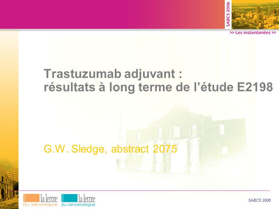 Trastuzumab adjuvant : résultats à long terme de l'étude E2198 G.W.