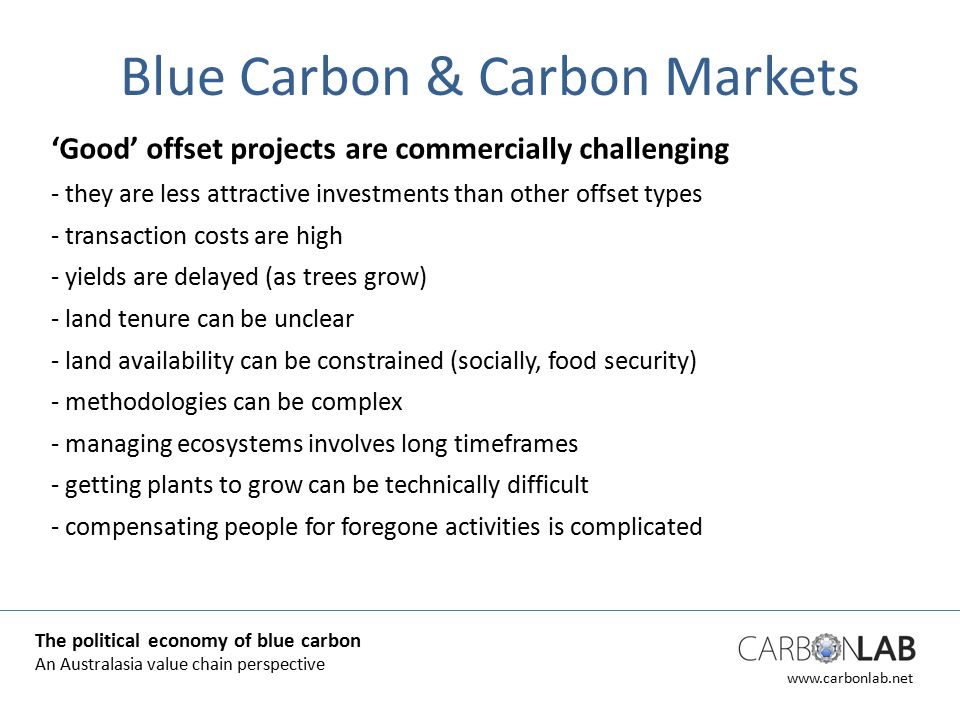 www.carbonlab.net Blue Carbon & Carbon Markets 'Good' offset projects are commercially challenging - they are less attractive investments than other offset types - transaction costs are high - yields are delayed (as trees grow) - land tenure can be unclear - land availability can be constrained (socially, food security) - methodologies can be complex - managing ecosystems involves long timeframes - getting plants to grow can be technically difficult - compensating people for foregone activities is complicated The political economy of blue carbon An Australasia value chain perspective
