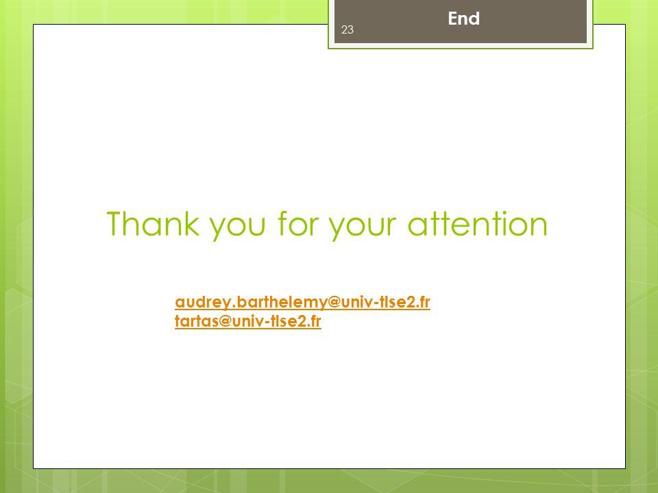 Thank you for your attention 23 audrey.barthelemy@univ-tlse2.fr tartas@univ-tlse2.fr End