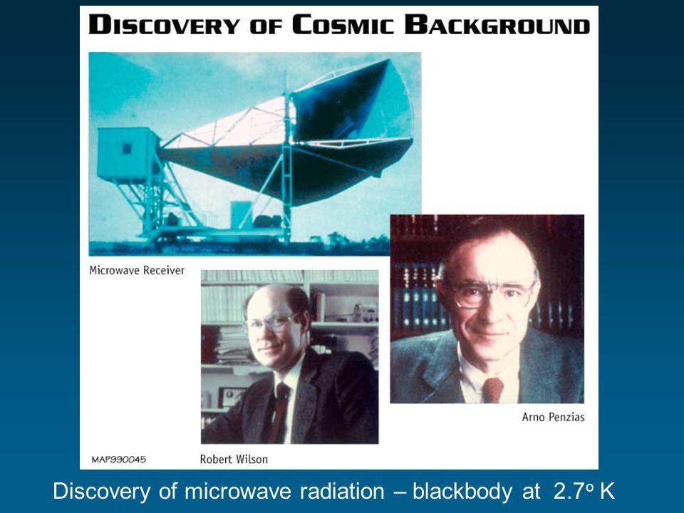 Discovery of microwave radiation – blackbody at 2.7 o K