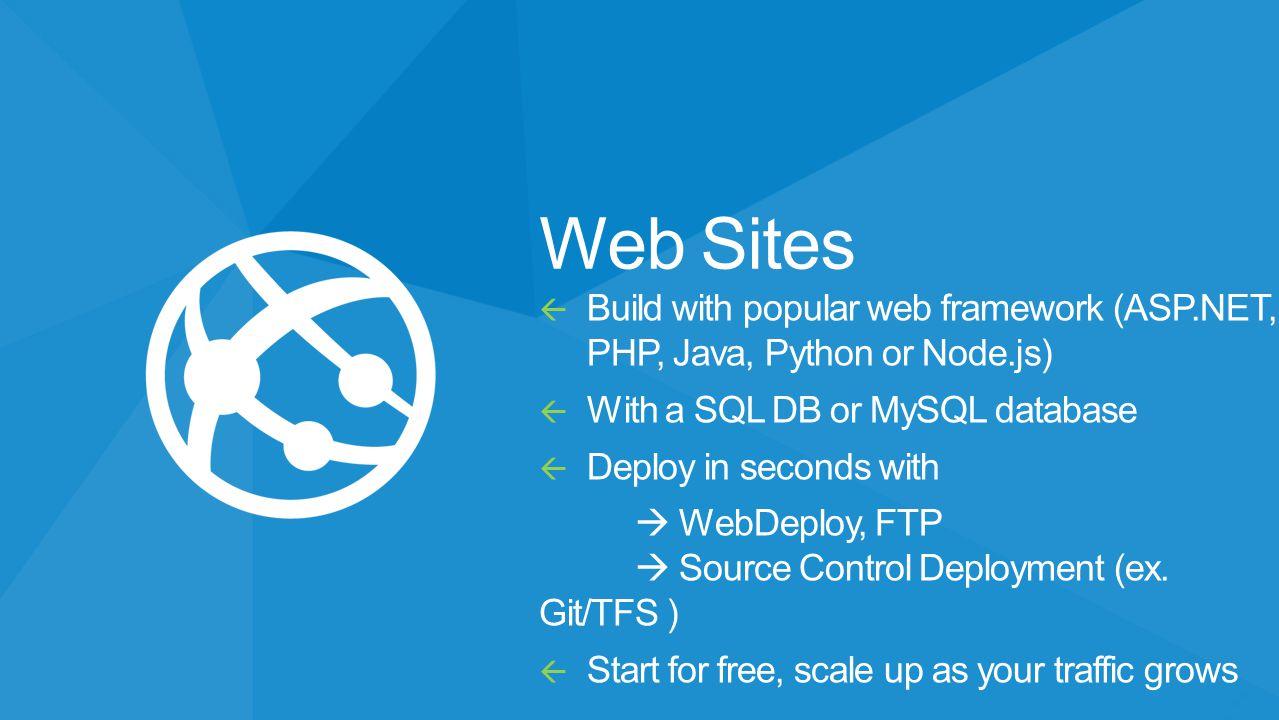 Web Sites  Build with popular web framework (ASP.NET, PHP, Java, Python or Node.js)  With a SQL DB or MySQL database  Deploy in seconds with  WebD