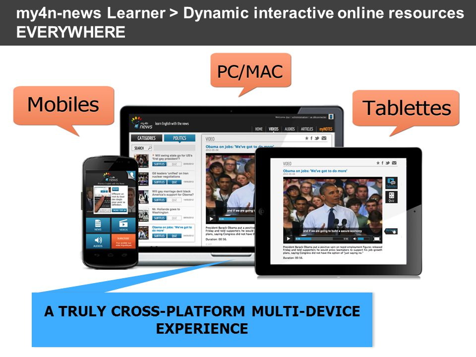 my4n-news Learner > Dynamic interactive online resources EVERYWHERE A TRULY CROSS-PLATFORM MULTI-DEVICE EXPERIENCE