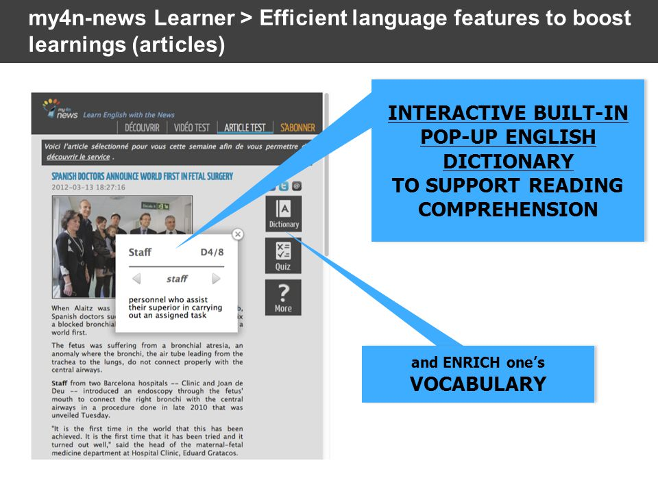 INTERACTIVE BUILT-IN POP-UP ENGLISH DICTIONARY TO SUPPORT READING COMPREHENSION INTERACTIVE BUILT-IN POP-UP ENGLISH DICTIONARY TO SUPPORT READING COMPREHENSION my4n-news Learner > Efficient language features to boost learnings (articles) and ENRICH one's VOCABULARY