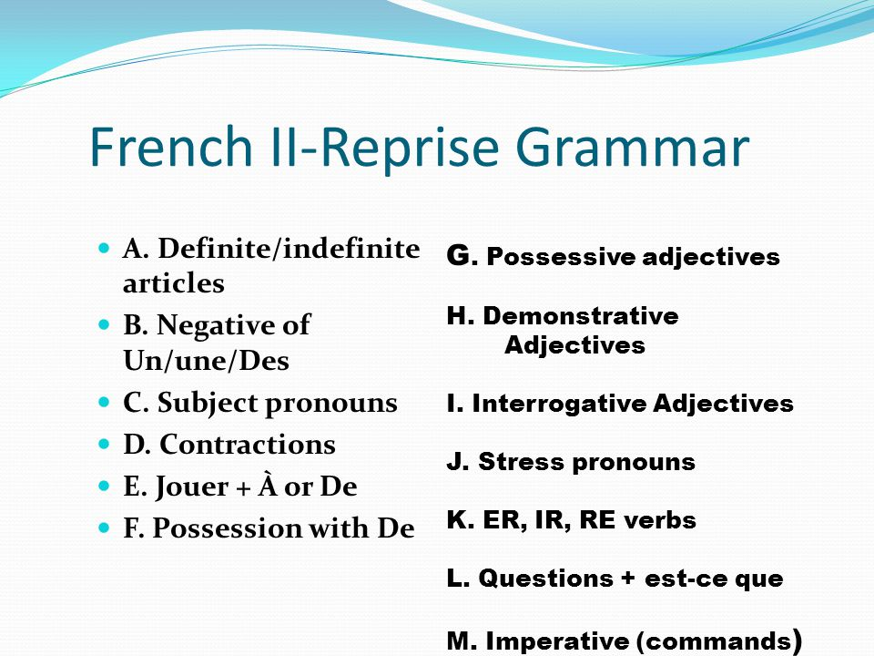 French 2 1. Turn in any late work or warmup (pg. 7 11-18), final supply & book check.