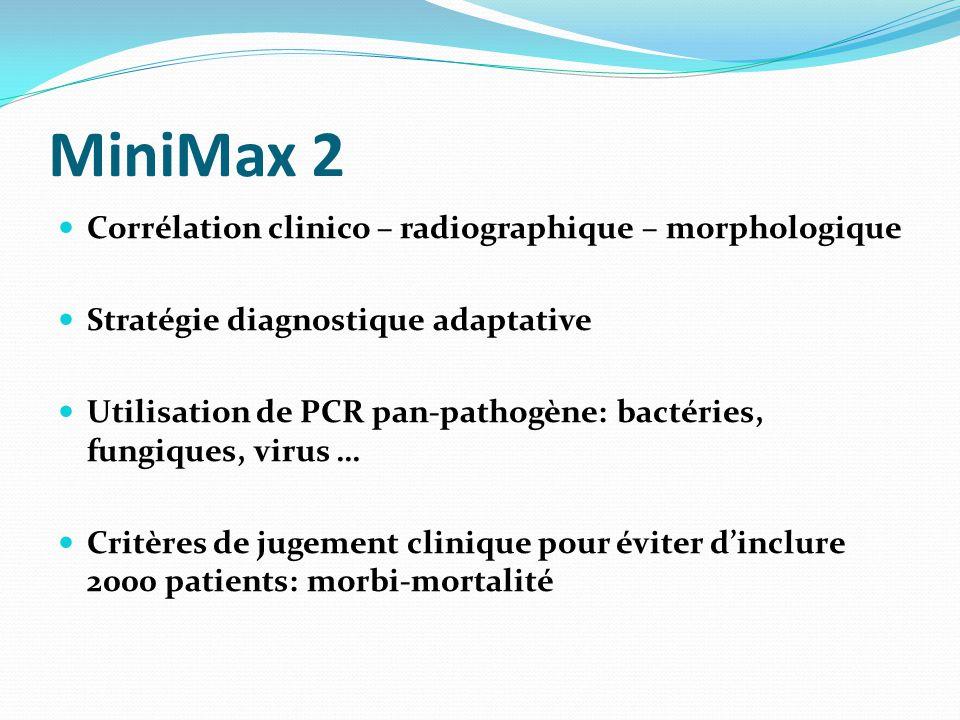 MiniMax 2 Corrélation clinico – radiographique – morphologique Stratégie diagnostique adaptative Utilisation de PCR pan-pathogène: bactéries, fungiques, virus … Critères de jugement clinique pour éviter d'inclure 2000 patients: morbi-mortalité