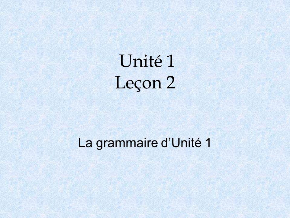Unité 1 Leçon 2 La grammaire d'Unité 1