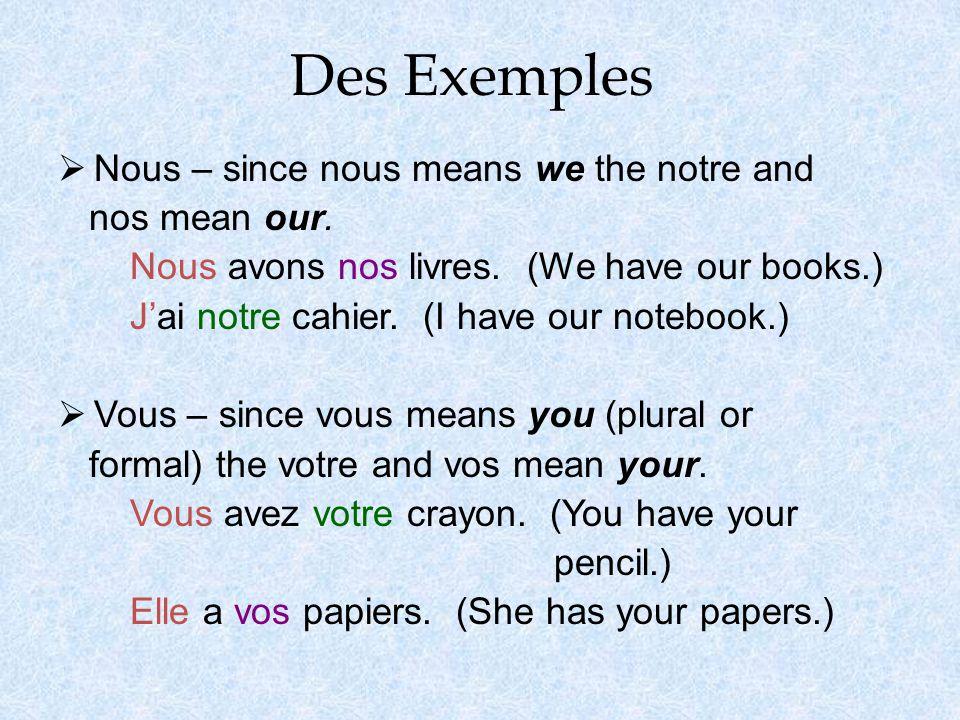 Des Exemples  Nous – since nous means we the notre and nos mean our.
