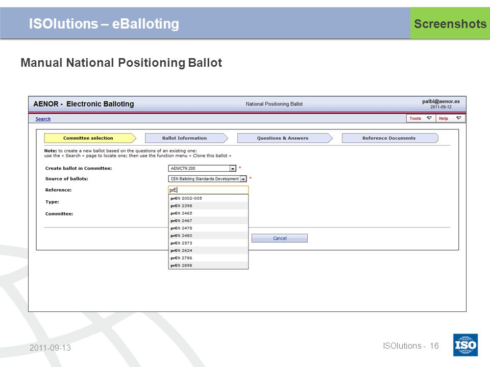 Cliquez et modifiez le titre ISOlutions -16 2011-09-13 Screenshots ISOlutions – eBalloting Manual National Positioning Ballot