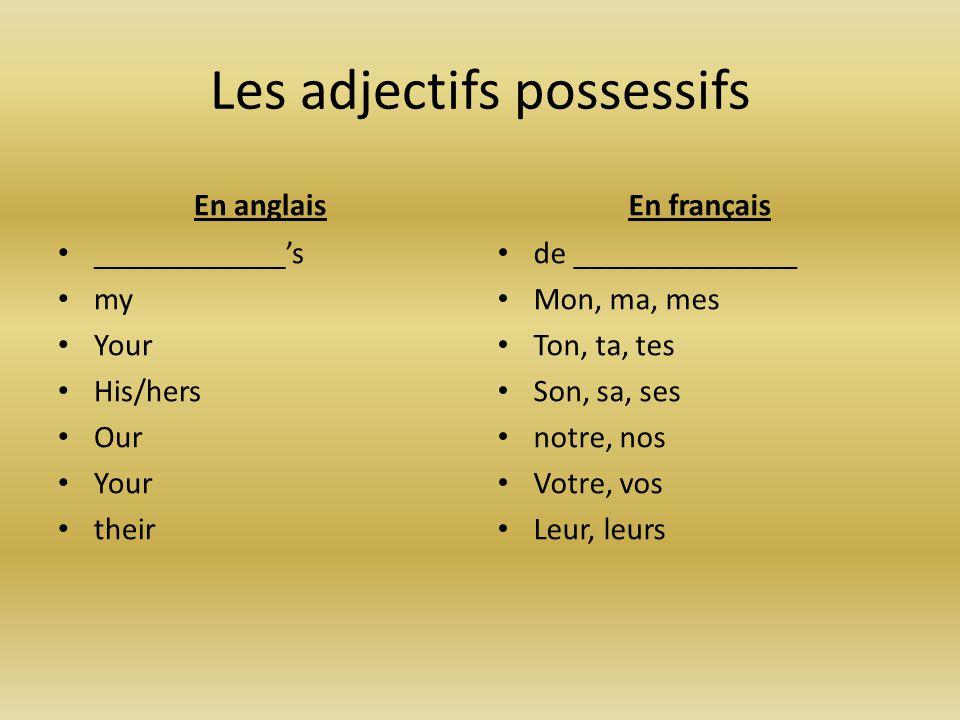 Les adjectifs possessifs En anglais ____________'s my Your His/hers Our Your their En français de ______________ Mon, ma, mes Ton, ta, tes Son, sa, se