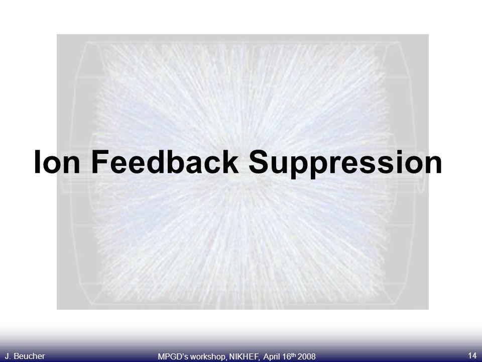 14 MPGD's workshop, NIKHEF, April 16 th 2008 J. Beucher Ion Feedback Suppression