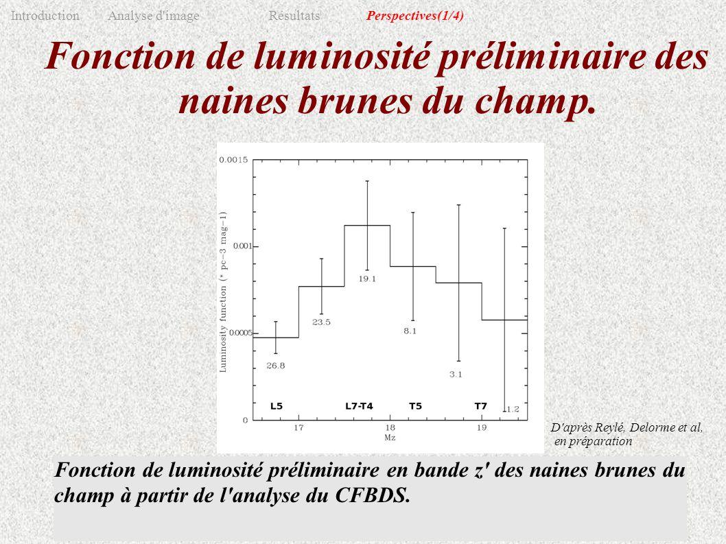 Fonction de luminosité préliminaire des naines brunes du champ. Répartition en distance des naines brunes de l'échantillon avant (traits pleins) et ap