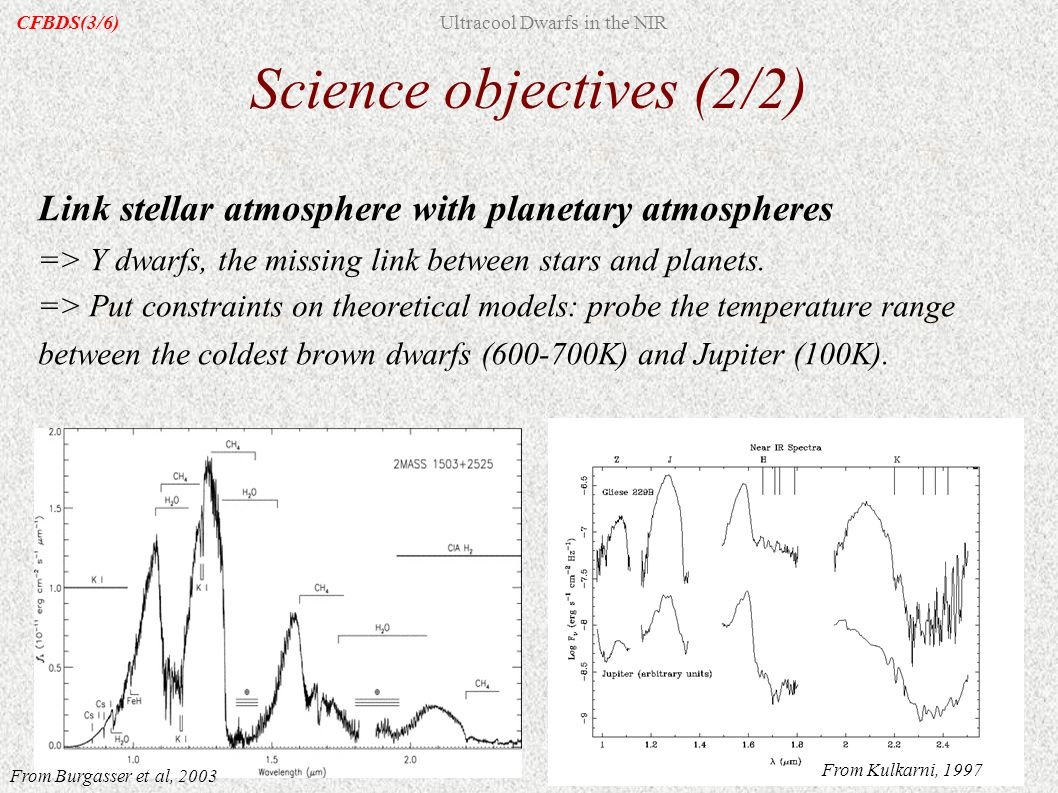 Link stellar atmosphere with planetary atmospheres => Y dwarfs, the missing link between stars and planets. => Put constraints on theoretical models: