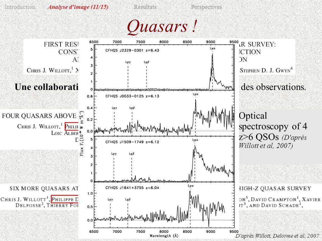 Quasars . Une collaboration fructueuse: répartition de l analyse et des observations.