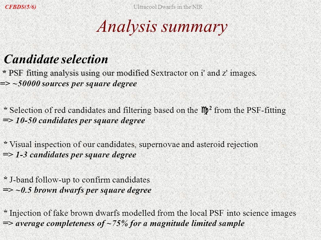 Analysis summary Candidate selection * PSF fitting analysis using our modified * PSF fitting analysis using our modified Sextractor on i' and z' image