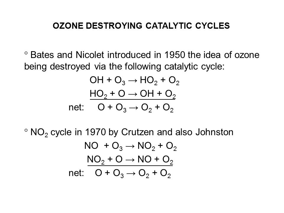 OZONE DESTROYING CATALYTIC CYCLES ° Bates and Nicolet introduced in 1950 the idea of ozone being destroyed via the following catalytic cycle: OH + O 3 → HO 2 + O 2 HO 2 + O → OH + O 2 net: O + O 3 → O 2 + O 2 ° NO 2 cycle in 1970 by Crutzen and also Johnston NO + O 3 → NO 2 + O 2 NO 2 + O → NO + O 2 net: O + O 3 → O 2 + O 2