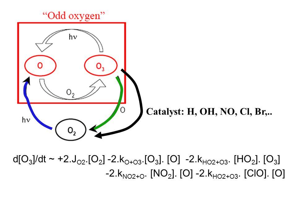 d[O 3 ]/dt ~ +2.J O2.[O 2 ] -2.k O+O3.[O 3 ]. [O] -2.k HO2+O3.