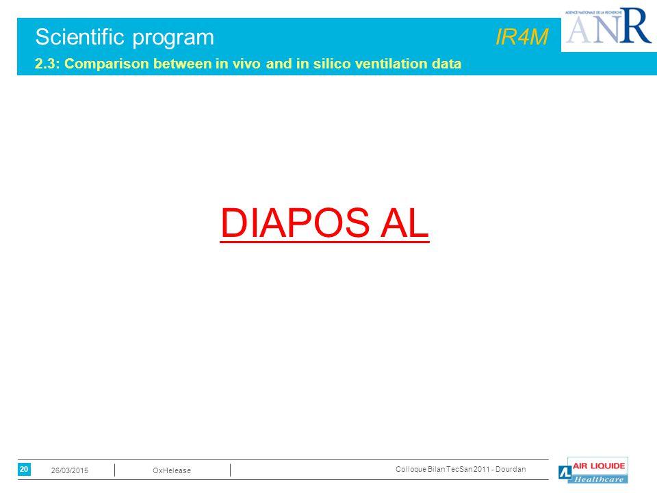 20 OxHelease26/03/2015 Colloque Bilan TecSan 2011 - Dourdan Scientific programIR4M 2.3: Comparison between in vivo and in silico ventilation data DIAP