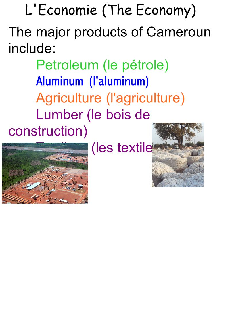 L Economie (The Economy) The major products of Cameroun include: Petroleum (le pétrole) Aluminum (l aluminum) Agriculture (l agriculture) Lumber (le bois de construction) Textiles(les textiles)
