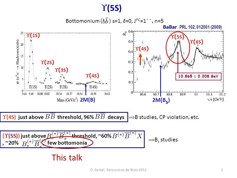 2  ( 5S ) 10.865  0.008 GeV 2M(B s ) BaBar PRL 102, 012001 (2009)  ( 6S )  ( 4S )  (5S)  ( 1S )  ( 2S )  ( 3S )  ( 4S ) 2M(B)  (4S) just above threshold, 96% decays (  (5S)) just above threshold, ~60%, ~20%, few bottomonia Bottomonium ( ) s=1, l =0, J PC =1   n=5 This talk  B studies, CP violation, etc.