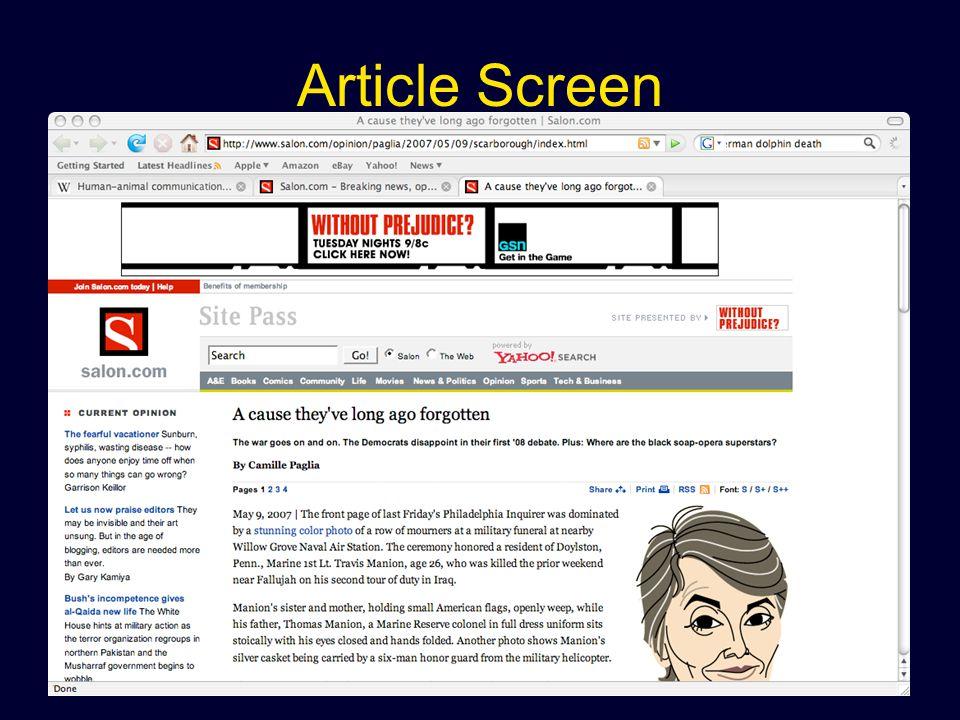 Article Screen