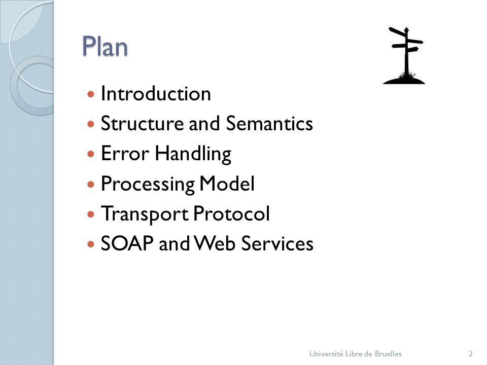 Plan Introduction Structure and Semantics Error Handling Processing Model Transport Protocol SOAP and Web Services Université Libre de Bruxlles2