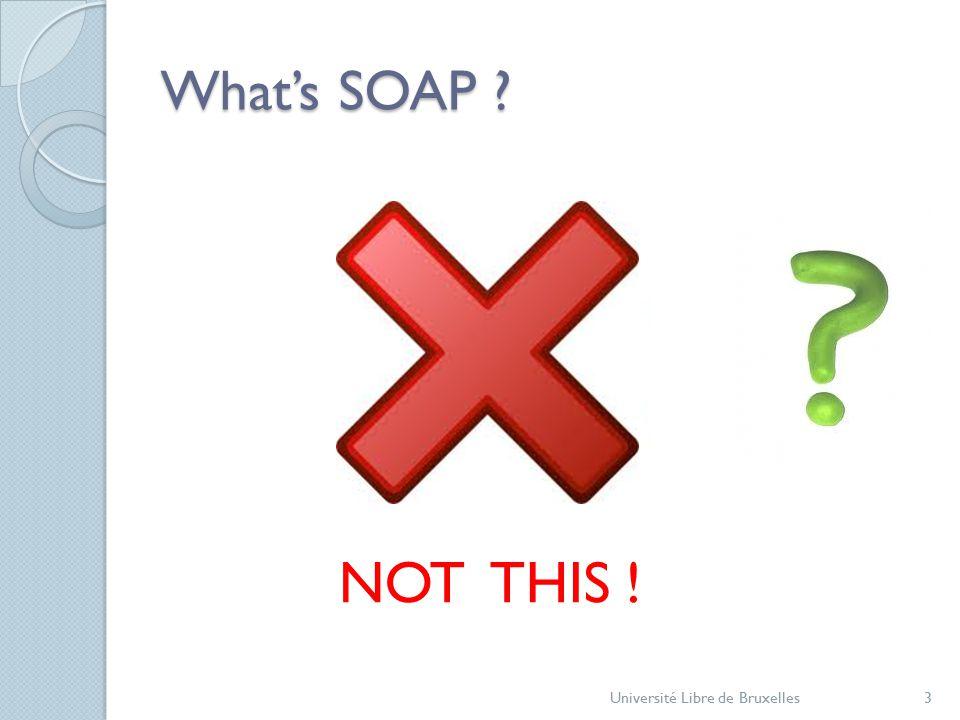 What's SOAP ? Université Libre de Bruxelles3 NOT THIS !