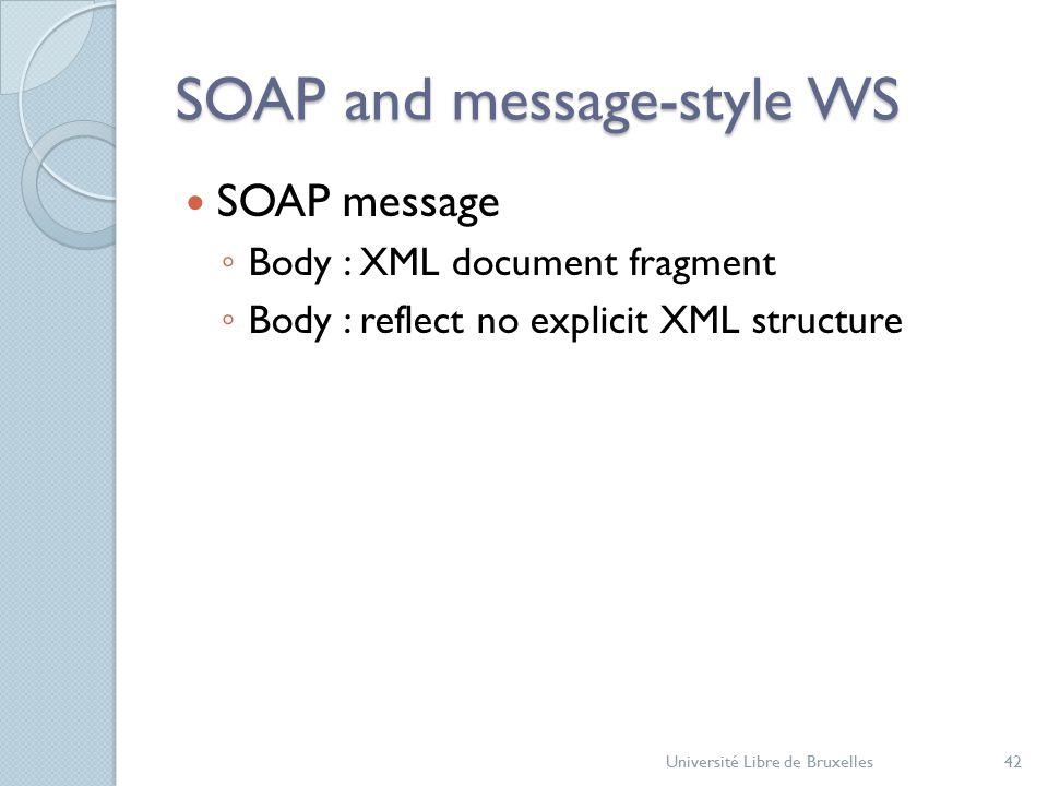 SOAP and message-style WS SOAP message ◦ Body : XML document fragment ◦ Body : reflect no explicit XML structure Université Libre de Bruxelles42
