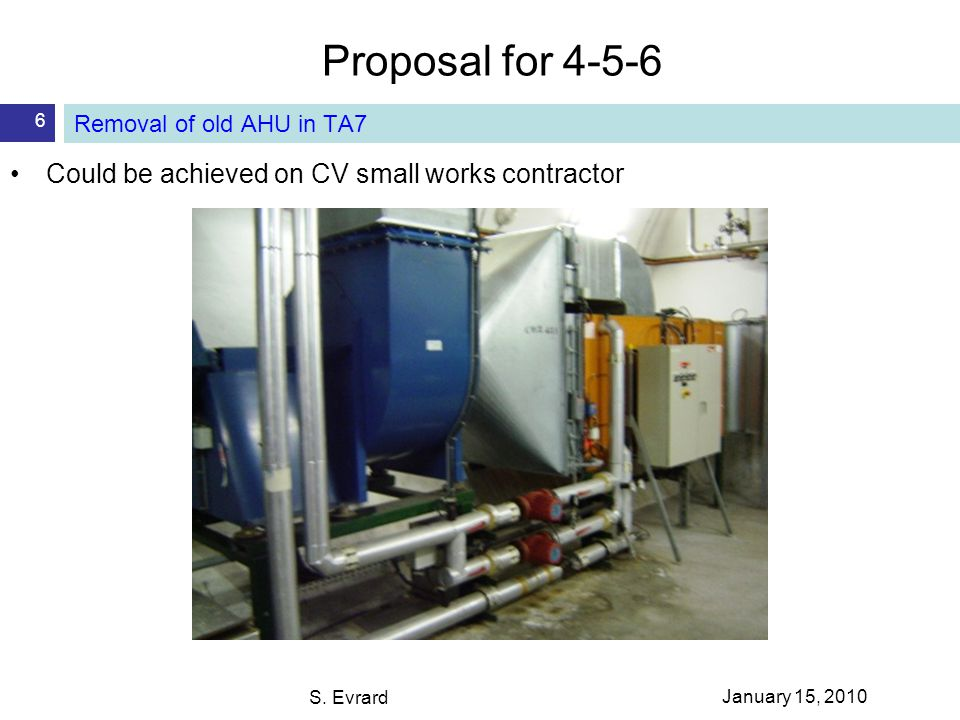 Proposal for 4-5-6 S. Evrard 6 Removal of old AHU in TA7 Could be achieved on CV small works contractor January 15, 2010